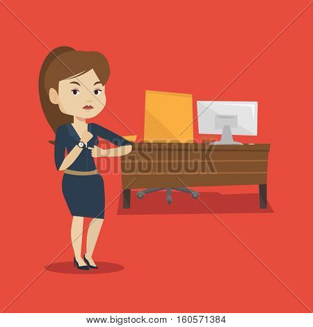 An angry female employer pointing at time on wrist watch. Caucasian employer checking time of coming of latecomer employee. Concept of late to work. Vector flat design illustration. Square layout.