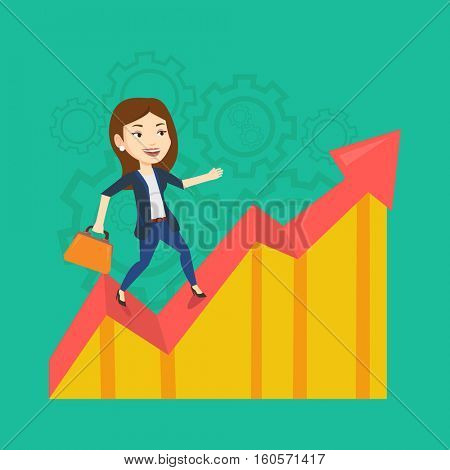 Caucasian successful business woman standing on profit chart. Young happy business woman running along the profit chart. Business profit concept. Vector flat design illustration. Square layout.