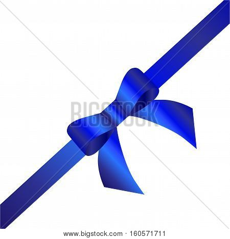 Decorative blue bow with diagonally ribbon. Vector bow for page decor