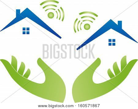 Houses with WLAN, network, connection, IT logo