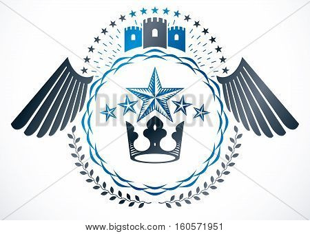 Heraldic emblem isolated vector illustration created with royal crown and medieval stronghold