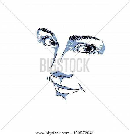 Monochrome Portrait Of Delicate Good-looking Dreamy Still Woman, Black And White Vector Drawing. Emo