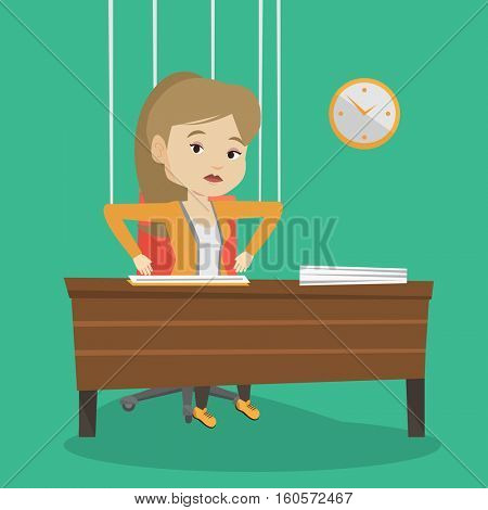Caucasian business woman hanging on strings like marionette. Business woman marionette on ropes sitting in office. Emotionless marionette woman working. Vector flat design illustration. Square layout.