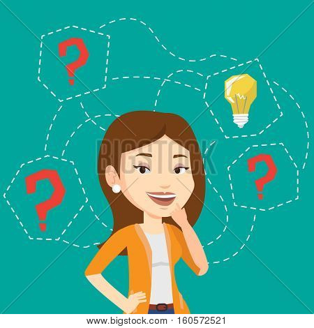 Caucasian business woman having creative idea. Business woman standing with question marks and idea light bulb above her head. Business idea concept. Vector flat design illustration. Square layout.