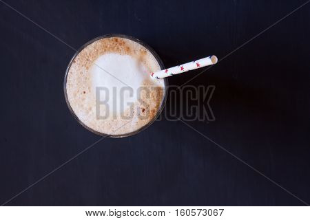 coffee , latte coffee on a black background