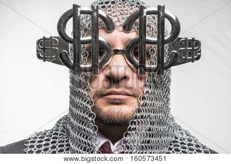 Payday, man with medieval chain mail and dollar-shaped glasses