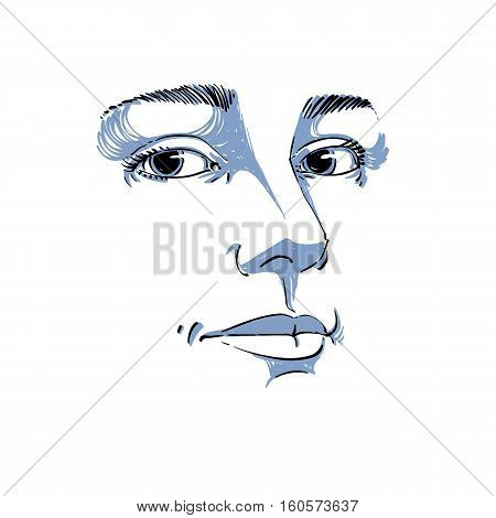 Portrait Of Tender Dreamy Still Woman, Black And White Vector Drawing. Emotional Expressions Idea Im