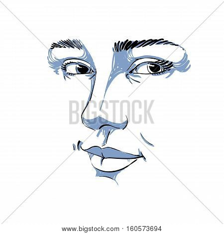 Black And White Vector Hand-drawn Portrait Of White-skin Flirting Woman, Face Emotions Theme Illustr