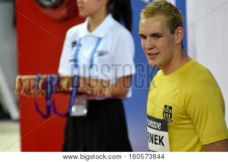Hong Kong China - Oct 29 2016. Competitive swimmer Peter BERNEK (HUN) at the Victory Ceremony of the Men's Freestyle 400m. FINA Swimming World Cup Victoria Park Swimming Pool.