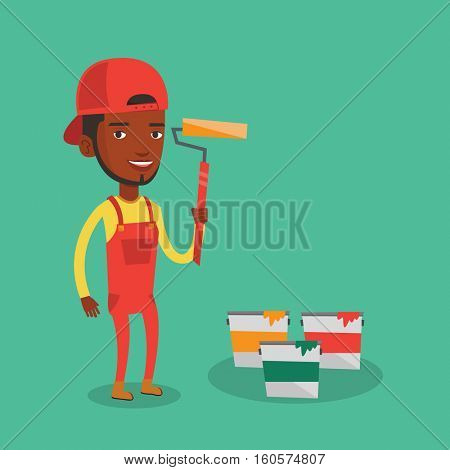 An african-american joyful painter in uniform holding a paint roller in hands. Young cheerful painter at work. Smiling painter standing near paint cans. Vector flat design illustration. Square layout.