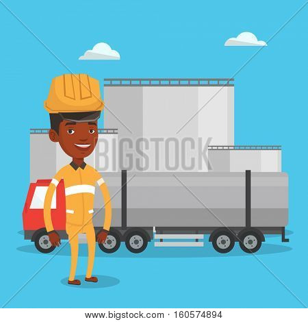 African refinery worker of oil and gas industry. Worker standing on the background of fuel truck and oil refinery plant. Man working at refinery plant. Vector flat design illustration. Square layout.