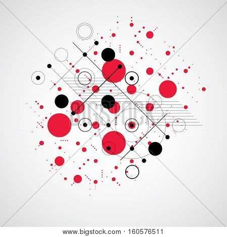 Bauhaus Art Composition, Decorative Modular Red Vector Wallpaper With Circles And Grid. Retro Style