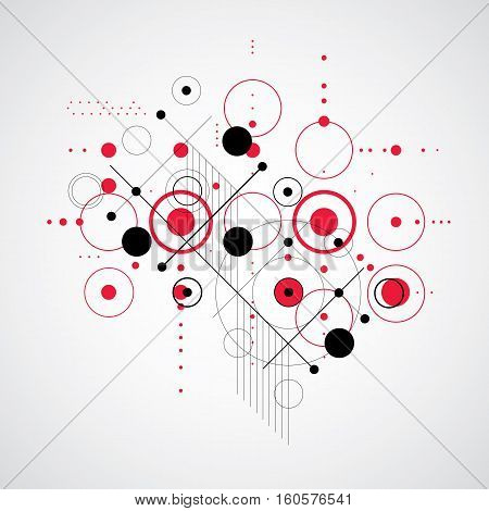 Vector Abstract Red Background Created In Bauhaus Retro Style. Modern Geometric Composition Can Be U