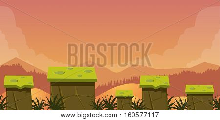Mobile App Game Assets Background Classic Platformer , nature landscape with different platforms and separated layers for games.