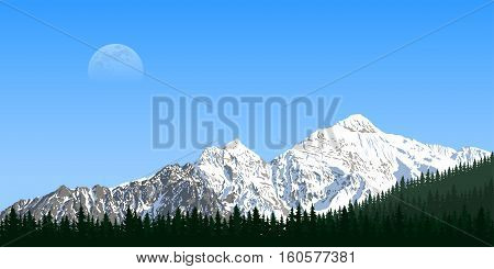 picture of a mountain range with forest silhouette and moon on background travel tourism hiking and trekking concept