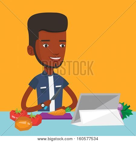 Man cutting vegetables for salad. An african-american man following recipe for vegetables salad on digital tablet. Man cooking healthy vegetable salad. Vector flat design illustration. Square layout.