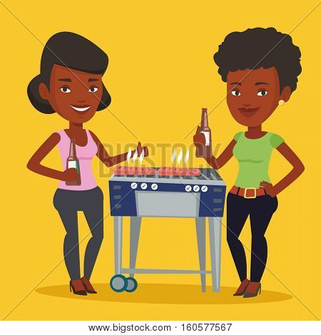 Friends preparing barbecue and drinking beer. Group of friends having fun at a barbecue party. African-american female friends having a barbecue party. Vector flat design illustration. Square layout.