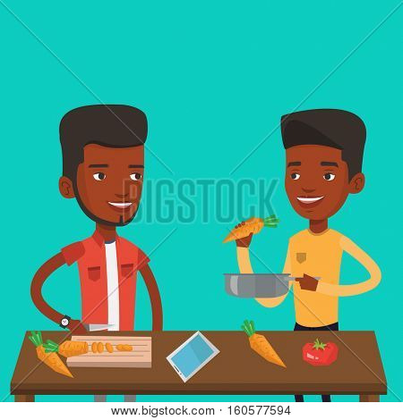 Men having fun cooking together healthy meal. Young smiling men preparing vegetable meal. An african-american happy men cooking healthy vegetable meal. Vector flat design illustration. Square layout.