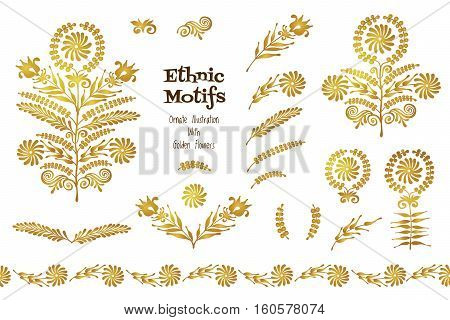 Vector Set Of Vintage Vignettes In Ethnic Style.