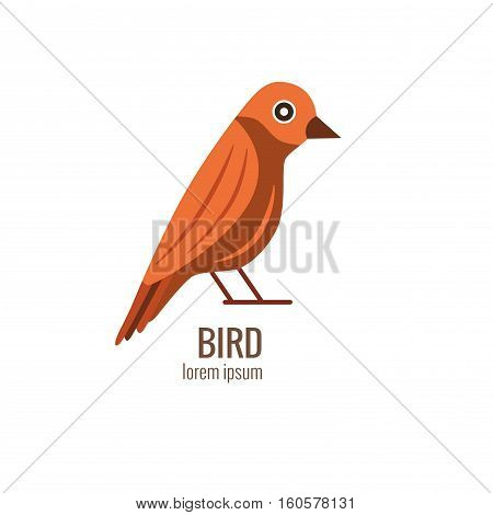 Colorfu cartoon forest bird logo isolated illustration. Vector european forest bird icon made in flat style.