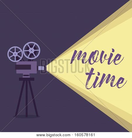 Movie projector background cinema illustration. Movie projector vintage poster. Colorful movie projector background for your design.