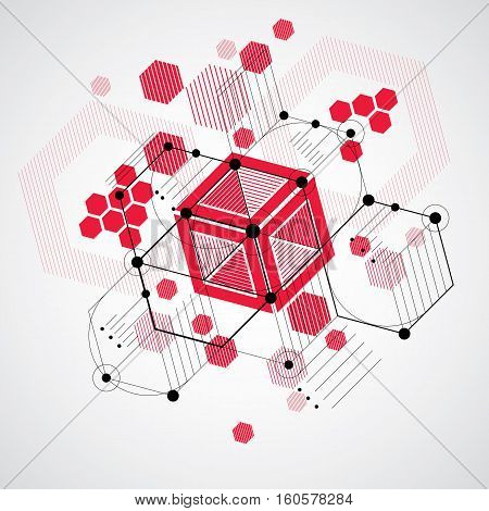 Vector Bauhaus Abstract Background Made With Grid And Overlapping Simple Geometric Elements, Circles