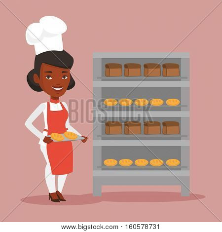 Young african-american baker holding tray of bread in the bakery. Confident female baker standing near bread rack. Smiling baker holding baking tray. Vector flat design illustration. Square layout.
