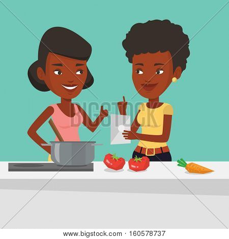 African-american women following recipe for healthy vegetable meal on digital tablet. Women cooking healthy meal. Women having fun cooking together. Vector flat design illustration. Square layout.