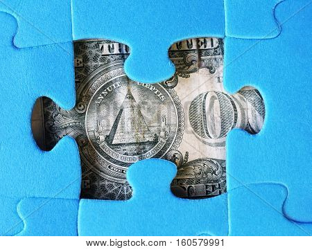 one dollar and puzzle pieces, money USA
