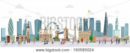 Panoramic of London Skyline and People Walking. City of London one of the leading centres of global finance.