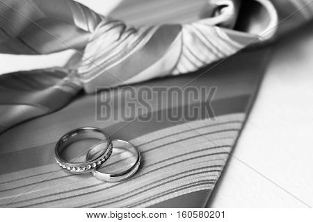 Two wedding rings on the tie, love and happy