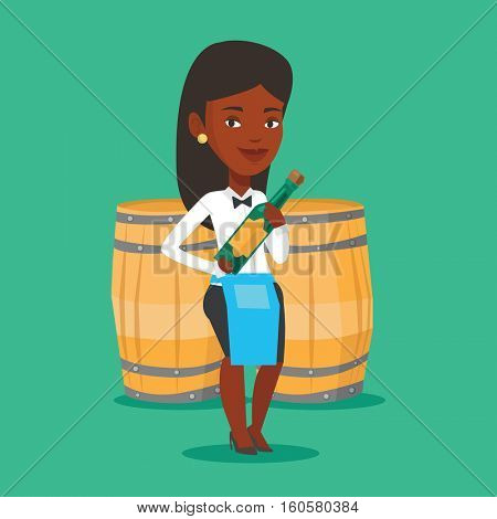 An african waitress holding bottle of wine. Waitress with bottle in hands standing on the background of wine barrels. Waitress presenting a wine bottle. Vector flat design illustration. Square layout.