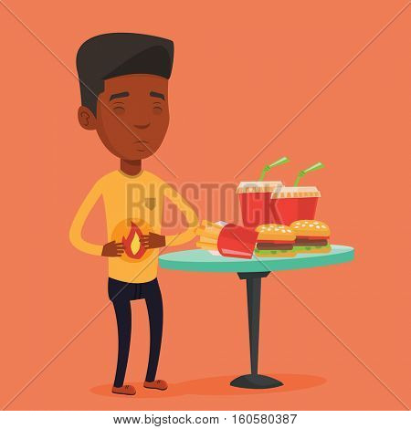 Young man suffering from heartburn. An african-american sad man having stomach ache from heartburn. Upset man having stomach ache after fast food. Vector flat design illustration. Square layout.
