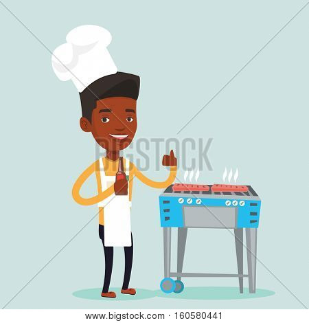 Man with bottle in hand cooking steak on gas barbecue grill and giving thumb up. An african-american man cooking steak on the barbecue grill outdoors. Vector flat design illustration. Square layout.