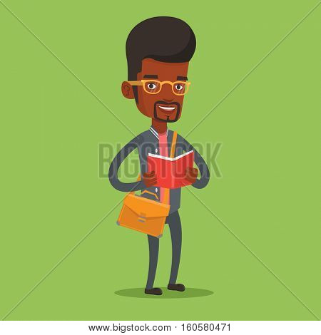 An african-american smiling student reading a book. Cheerful male student reading a book and preparing for exam. Student standing with book in hands. Vector flat design illustration. Square layout.