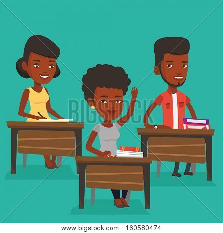An african-american student raising hand in the classroom for an answer. Student sitting at the desk with raised hand. Girl raising her hand at lesson. Vector flat design illustration. Square layout.