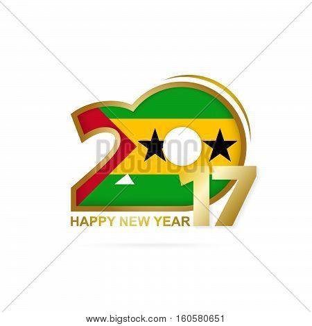 Year 2017 With Sao Tome And Principe Flag Pattern. Happy New Year Design On White Background.