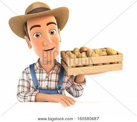 3d farmer holding wooden crate of potatoes illustration with isolated white background