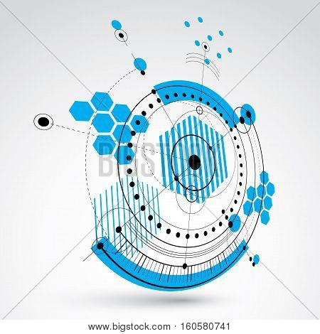 Three-dimensional mechanical scheme vector engineering drawing with circles and geometric parts of mechanism.