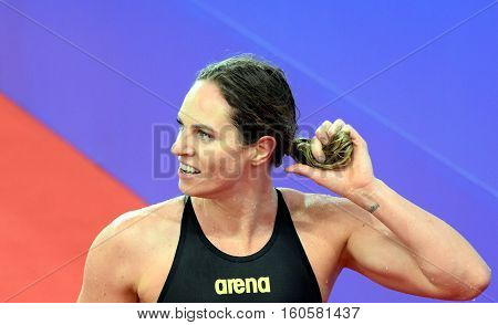 Hong Kong China - Oct 29 2016. Competitive swimmer SEEBOHM Emily (AUS) after the Women's Backstroke 200m Final. FINA Swimming World Cup Victoria Park Swimming Pool.