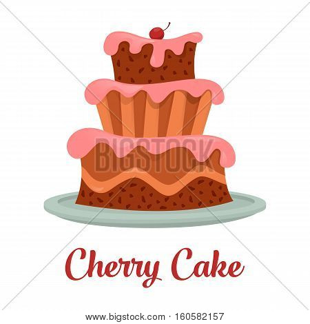 Cake with cream food, bakery or dessert logo. Isolated cartoon cake with chocolate and icing, cherry or strawberry on top standing. For birthday or anniversary, party or celebration, bakery theme