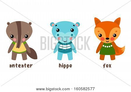 Cartoon characters or set of animals. Hippo or hippopotamus, river-horse or behemoth, ant-eater or ant anteater, fox or cartoon tod.May be used for vector animal illustration, set of child cartoon pets