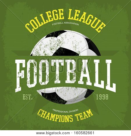 Logo for soccer or football t-shirt. Banner for sportswear and sport clothing, soccer club emblem and football team advertising, sport center logo or professional team branding print on t-shirt, soccer poster poster