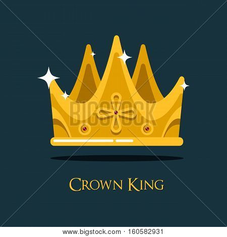 Golden king crown or pope triada, retro monarch headdress. Retro prince or princess, old style queen crown icon that can be used for historical book or heraldic crown symbol