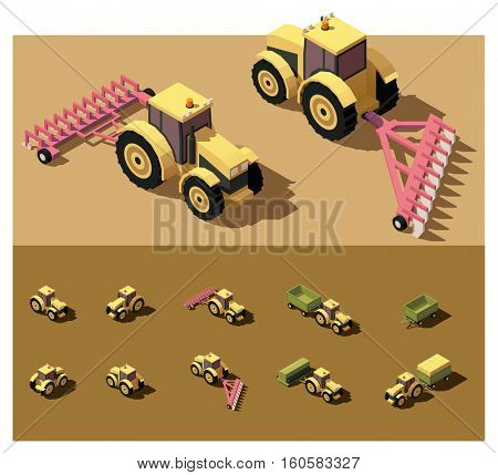 Vector isometric low poly tractor working in field