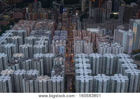 High residential buildings roofs in Hong Kong city, China, aerial view from Harbourfront center