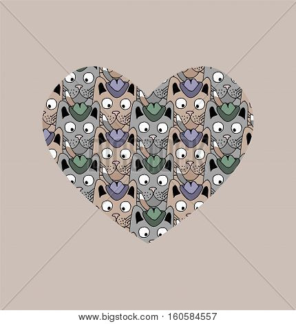 A lot of cats in the heart. Vector illustration