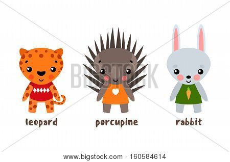 Vector cartoon zoo animals. Wild leopard and rabbit, hedgehog or wildlife porcupine. Forest smiling animals or cartoon characters. Set of isolated animals set, zoology or biology mascot for cartoon