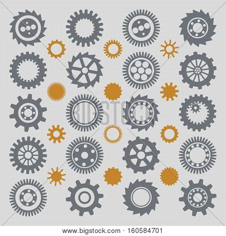 Illustration of various gear wheels, toothings and cog-wheels