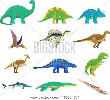 Set of isolated cartoon dinosaur or dino. T rex or t-rex, tyrannosaurus rex and stegosaurus, brachiosaurus and spinosaurus dino, cartoon saichania and pterodactyloidea dinosaur icon. Jurassic theme poster